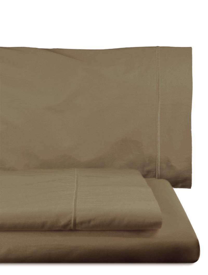 Home Royal - Juego de sábanas compuesto por encimera, 220 x 285 cm, bajera ajustable, 135 x 200 cm, funda para almohada, 45 x 155 cm, color castaño