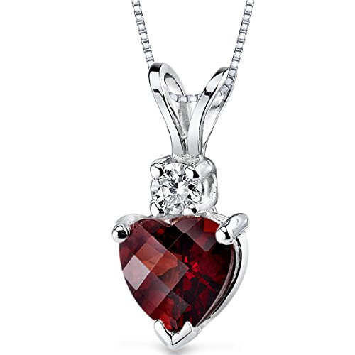 14 Karat White Gold Heart Shape 1.50 Carats Garnet Diamond Pendant ()