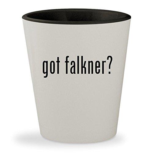 got falkner? - White Outer & Black Inner Ceramic 1.5oz Shot Glass