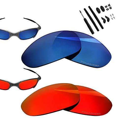 BlazerBuck Anti-salt Polarized Replacement Lenses for Oakley Juliet - Fire Red & Midnight Blue