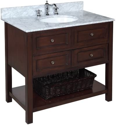 New Yorker 36-inch Bathroom Vanity Carrara Chocolate Includes a Chocolate Cabinet, Soft Close Drawers, Carrara Marble Countertop, and a Ceramic Sink
