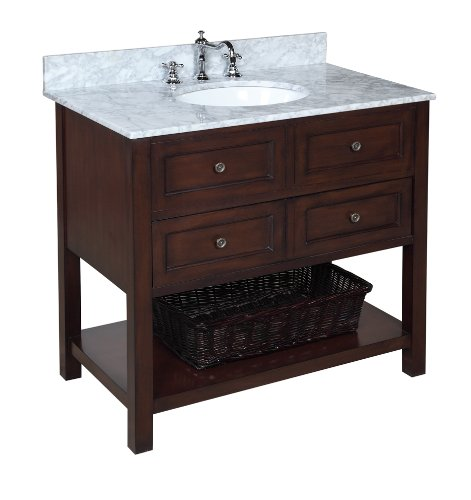 Kitchen Bath Collection KBCD666CARR New Yorker Bathroom Vanity with Marble Countertop, Cabinet with Soft Close Function and Undermount Ceramic Sink, Carrara/Chocolate, -