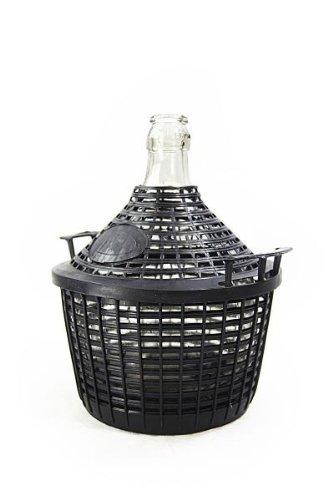 Bonbonne en verre 5 litres avec corbeille en plastique