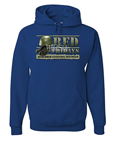 Red Fridays Remember Everyone Deployed Hoodie Support US Troops Sweatshirt Royal Blue 4XL