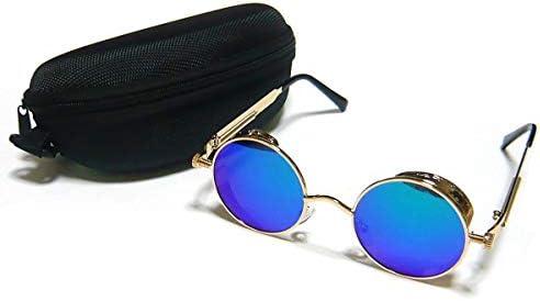 ヴィンテージ サングラス ブルー マジョラー レンズ スチーム パンク ゴーグル アンティーク 丸ぶち 丸メガネ ケース付 22E8825