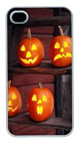 Halloween Holiday Pumpkin Ladder Custom iPhone 4s/4 Case Cover Polycarbonate White