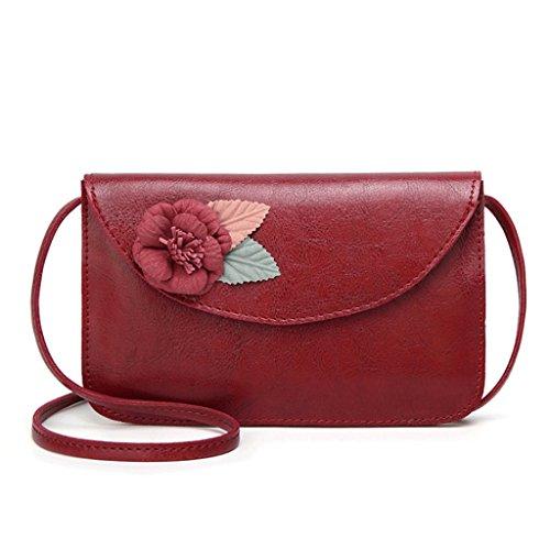 en A Sac sac petit Femme 3 diagonale à rouge Couleur rétro fleur main à bandoulière PU carré Sac sac cuir à Handbag main 8Rgyq5gw