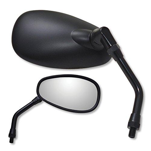 Ken Sean Matte Black Yamaha Reverse Thread Right Hand Mini Oval Mirror 941023BP