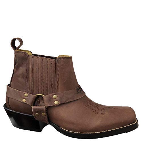 Brunello's Silverado Men's Leather Square Toe Western Boot with Low Cut in Camel Fossil