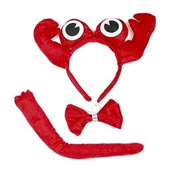 Mignon Crabe Rouge Bandeau Nœud papillon Queue 3PC Costume pour enfant Halloween ou fête - rouge - Taille Unique