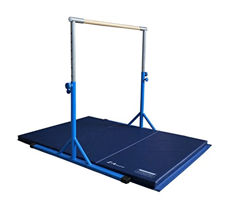 Z-Athletic Expandable Kip Bar Adjustable Height for Gymnastics, Training & 4ft x 6ft x 2in Mat (Blue)