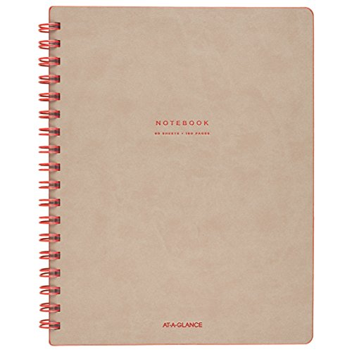 "At-A-Glance Notebook, Twinwire, Ruled, 80 Sheets, 9-1/2 x 7-1/4"", Collection, Tan/Red (YP14007)"