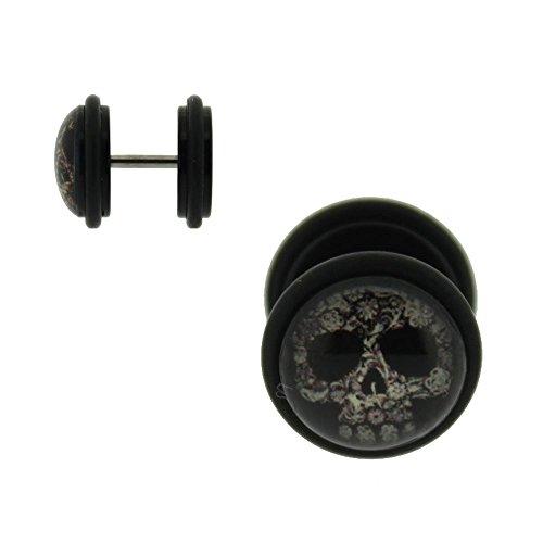 Piercing Faux Ecarteur Faux Plug Acrylique Tête de Mort