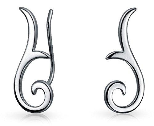 (Minimalist Geometric Tribal Scroll Ear Pin Crawlers Climbers Earrings For Women For Teen 925 Sterling Silver)