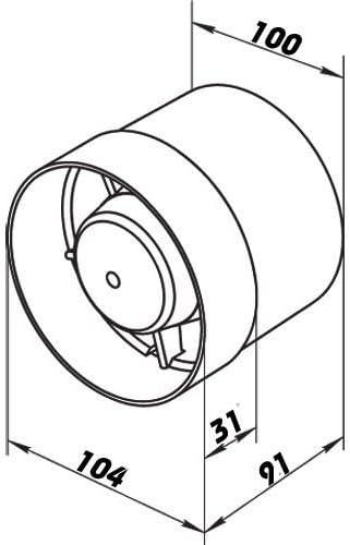 Rohrventilator mit Kugellager Vents 100 VKOL Turbo