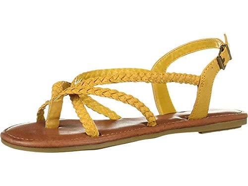 MIA Shoes Women's Kyllie Flat Sandal Yellow 6.5 Medium US