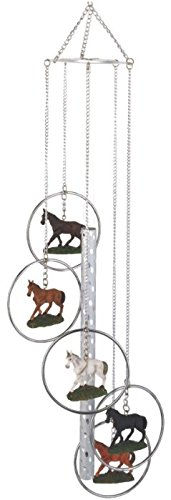 StealStreet SS-G-155.22 Wind Chime 5-Ring Polyresin Charm Horse Hanging Garden Decoration GSC