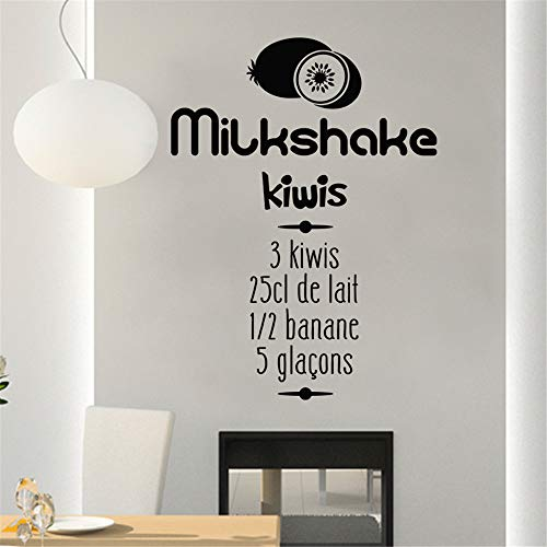 lsenag Vinyl Wall Art Inspirational Quotes and Saying Home Decor Decal Sticker Recipe Food Milkshake Kiwi for Kitchen Dining Room]()
