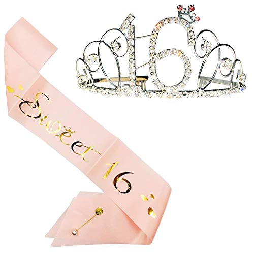 16th Birthday Party Supplies, 16th Birthday Tiara and Sash, Happy 16th Birthday Party Supplies, Sweet 16 Sash & Rhinestone Tiara Kit (Silver)