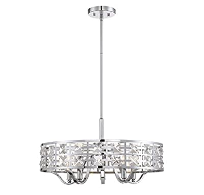 Trade Winds Lighting 5-Light Industrial Pendant with Crystals in Chrome