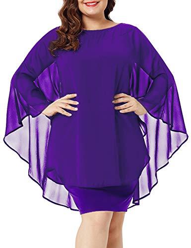 (Maketina Womens Chiffon Overlay Round Neck Party Midi Dresses with Cape Purple L)