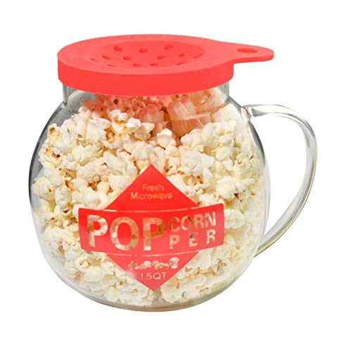 Home-X Microwave Popcorn Maker 1.5 Quart Microwavable Popper | Temperature Safe Glass