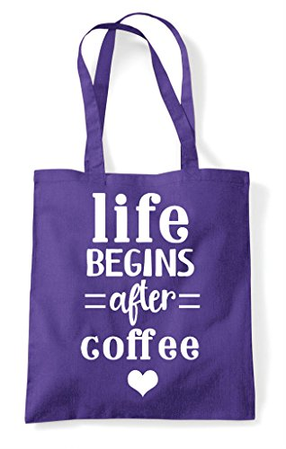 Tote Begins Life Statement Coffee After Bag Purple Shopper qrq1Iwd