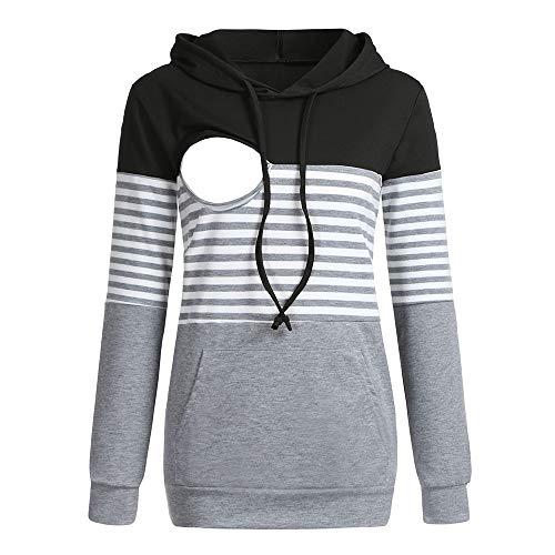 Pregnant Breastfeeding T-Shirt Tops Women Maternity Layered Hoodie Long Sleeve Sweatshirt with Pocket (L, ()