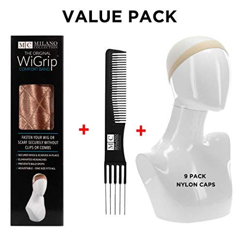 Milano Collection No-Slip WiGrip Velvet Wig Comfort Band with Value 9 Pack Nylon Wig Caps (TAN) (Best Type Of Wig Cap)