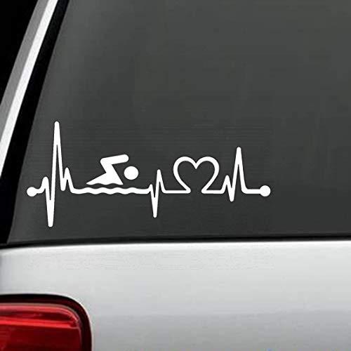 Vinyl Sticker Decal Swimming Heartbeat Lifeline Swimmer Diving Pool Car SUV Van 7.5