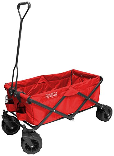 (Creative Outdoor Distributor All-Terrain Folding Wagon, (Red) - Multipurpose Cart for Gardening, Camping, Beach Trips, and Travelling)
