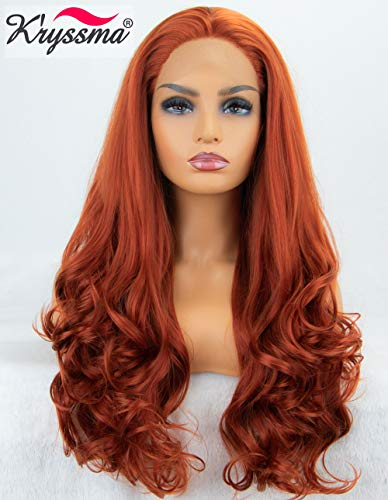 K'ryssma Fashion Women's #360 Copper Red Lace Front Wigs Synthetic Glueless Long Wavy Free Part Half Hand Tied Replacement Full Wigs for Halloween Heat Resistant 24 -