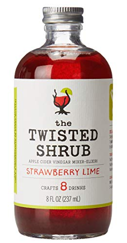 The Twisted Shrub | Strawberry Lime | Apple Cider Vinegar Drink Mixers for Healthier Sodas & Cocktails | 8oz bottle