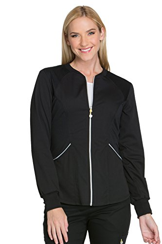 (Cherokee Women's Luxe Sport Zip Front Warm-up Jacket, Black, X-Large)