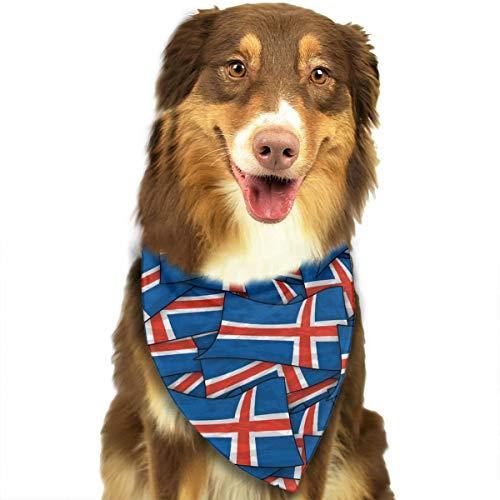 FortniteCOM Dog Bandana Iceland Flag Wave Collage Triangle Bibs Scarf Printing Kerchief Set Accessories Dogs Cats -