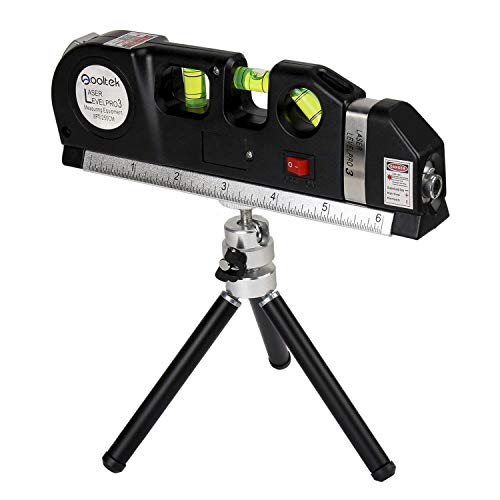 Line Laser Measure +8ft Tape Ruler Adjusted Standard and Metric Rulers with Metal Tripod Stand(Black) ()