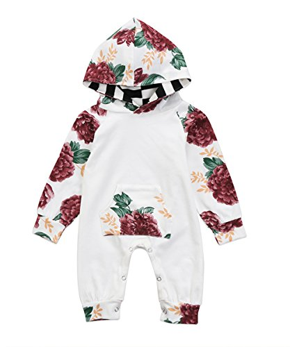 MaBaby Baby Girls Jumpsuit Hoodie Romper Outfit Long Sleeve Creepers Bodysuit Clothes 06 Months Floral