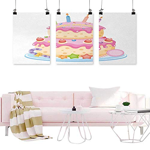 (branddy Triptych Wall Art 3 Panels Kids Birthday,Pastel Colored Birthday Party Cake with Candles and Candies Celebration Image,Light Pink Nordic Decoration Home)