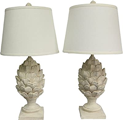 Sheffield Home 26 inch Weathered Artichoke Table Lamp Light - Perfect Living Room Decor, Bedside Lamps for Bedroom, Set of 2