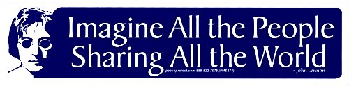 Imagine All The People Sharing All The World - John Lennon - Small Bumper Sticker / Decal (6.75