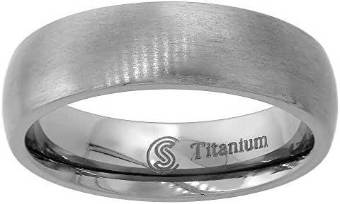 Titanium 6mm Wedding Band Thumb Ring Brushed Finish Domed Comfort Fit, sizes 7 - 14
