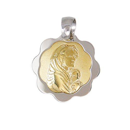 Pendentif - Médaille Vierge Marie à l'Enfant - Or Bicolore Jaune et Blanc - Enfant