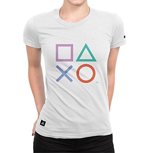 Camiseta Playstation Feminina Classic Symbols - Branco - G