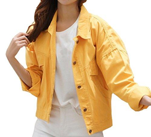 Qinni-shop Women Yellow Army Green Orange Loose Fit Boyfriend Denim Jacket Coat (L, Orange) by Qinni-shop