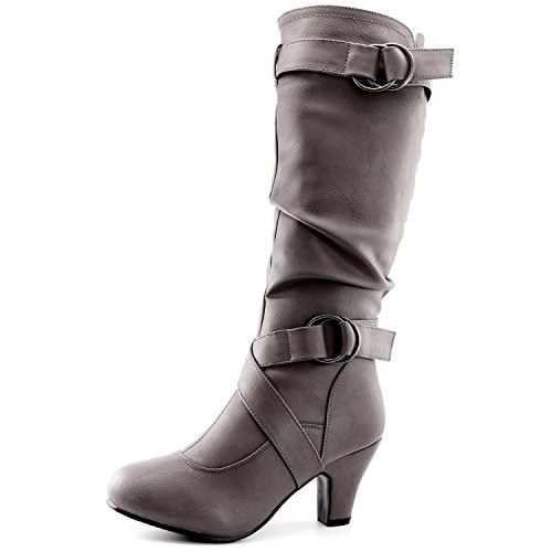 Slouchy Mid Calf Boots (Dailyshoes Women's Slouchy Mid Calf Strappy Boots with Ankle and Top Straps - 2