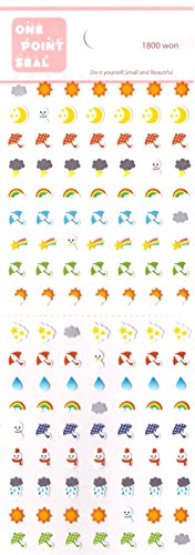 OfficeA Tiny/Mini Character Stickers for Diary (Weather) x 2 Sheets (0762047000961) (Weather Stickers)