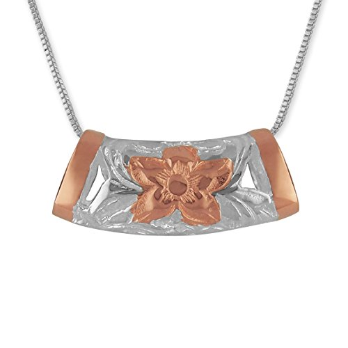 """Sterling Silver with 14kt Rose Gold Plated Accents Macaroni Barrel Pendant Necklace, 16+2"""" Extender -  Hawaiian Silver Jewelry, HSJP566RSE"""