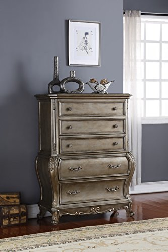 (Meridian Furniture Roma-CH Roma Traditional Style 5 Drawer Solid Wood Chest with French Provincial Hand Crafted Designs, Antique Silver Finish)