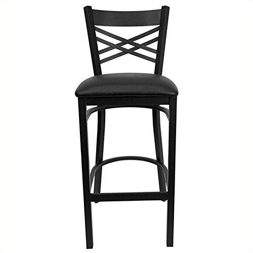 Flash Furniture HERCULES Series Black ''X'' Back Metal Restaurant Barstool - Black Vinyl Seat (Padded Vinyl Stools Bar)
