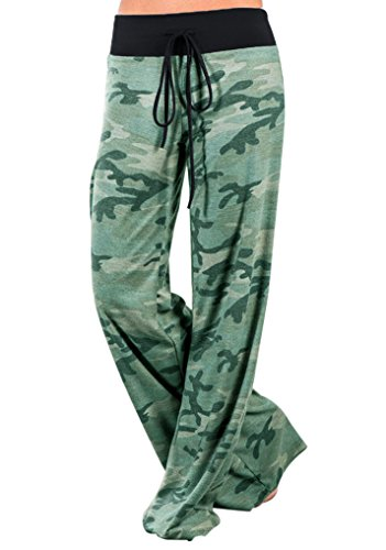 Price comparison product image Glomeen Women's Loose Wide Leg Long Yoga Pants Floral Printed Drawstring Trousers